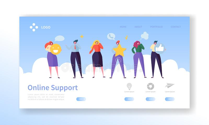 Online Customer Service Technical Support Landing Page. Operator Character Chat to Help User Solution. Hotline. Communication Concept for Website or Web Page royalty free illustration