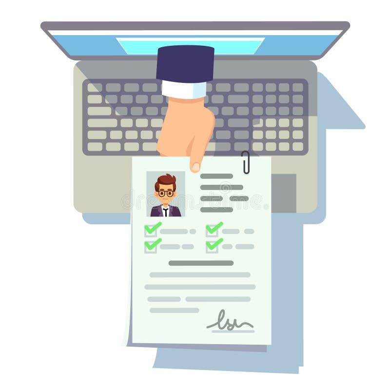 Online cv zastosowanie Życiorys uległość na laptopu ekranu, rekrutaci i kariery zarządzania wektoru pojęciu, ilustracja wektor