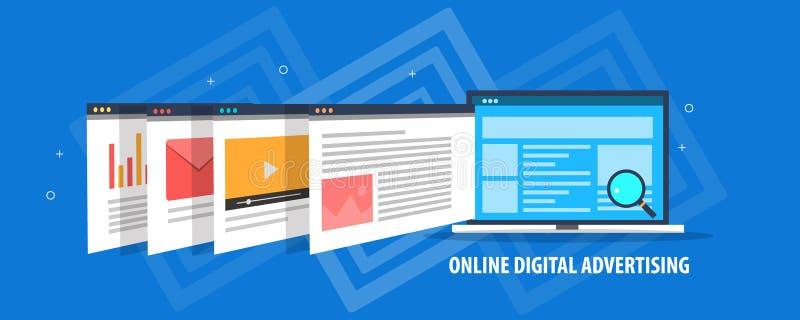 Online cyfrowa reklama - cyfrowe medialne reklamy pokazuje na laptopu ekranie Płaski projekta wektoru sztandar ilustracja wektor