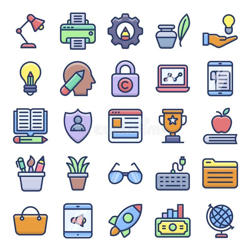 Online czasopisma i wideo Blogging Płaskie ikony ilustracji