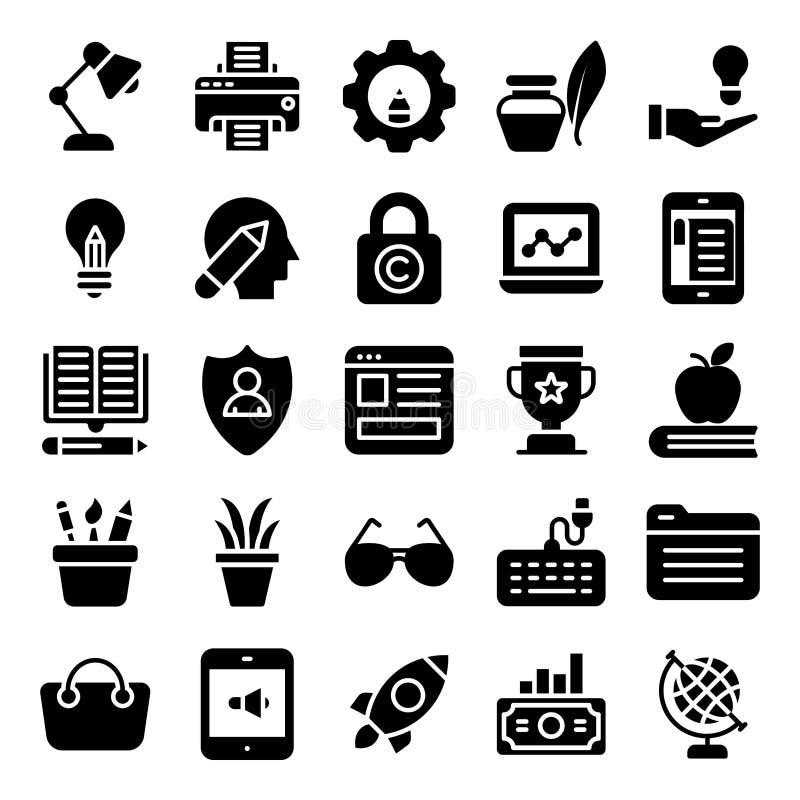 Online czasopisma i wideo Blogging Stałe ikony ilustracji