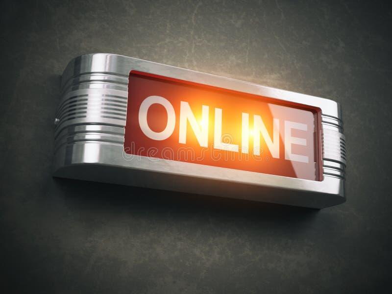 Online czerwony rozjarzony ostrzegawczy signboard Rejestr, transmitowanie lub s, ilustracji