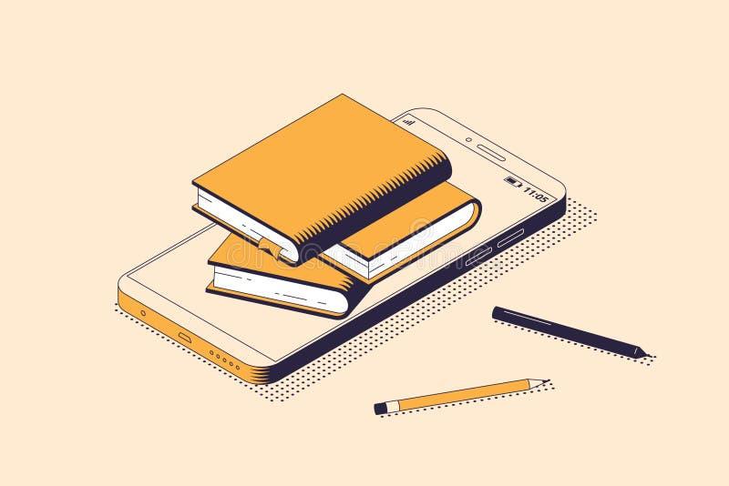 Online czytania i edukacji pojęcie w isometric odosobnionej wektorowej ilustracji royalty ilustracja