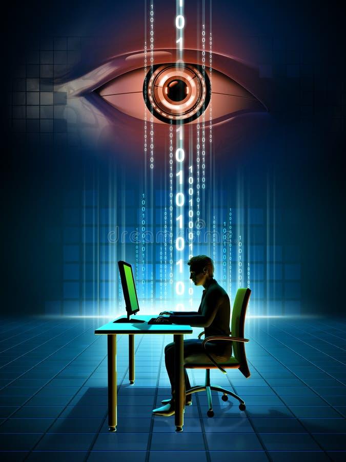Online-dataövervakning stock illustrationer