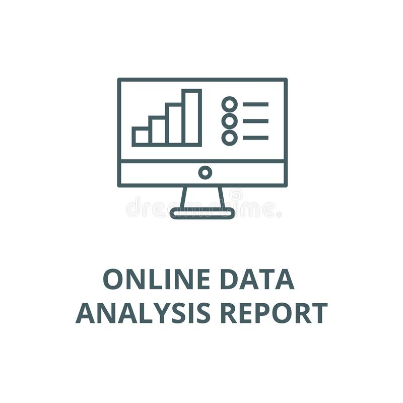 Online data analysis report vector line icon, linear concept, outline sign, symbol stock illustration