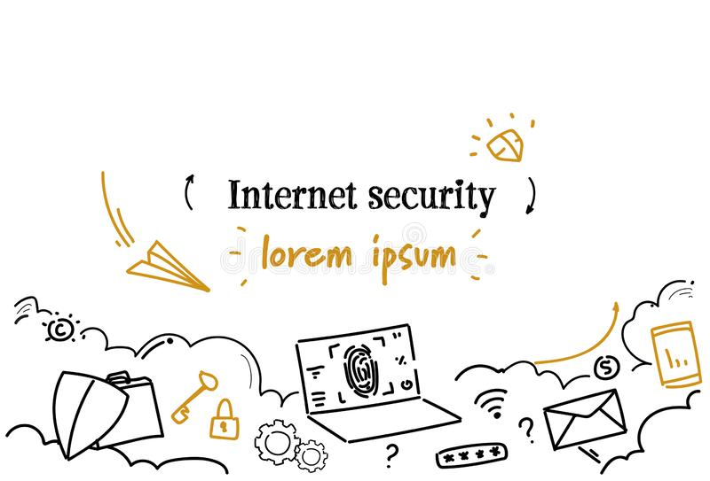 Online data protection internet security concept sketch doodle horizontal isolated copy space stock illustration