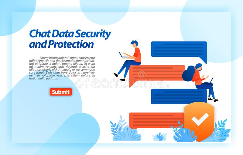 Online data security and Protection chat with an internet security system to protect the device and user privacy. vector illustrat stock illustration
