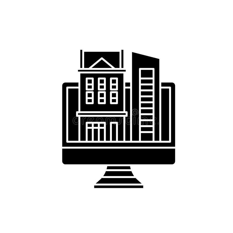 Online-databas av fastighetsvartsymbolen, vektortecken på isolerad bakgrund Online-databas av fastighetbegreppet royaltyfri illustrationer