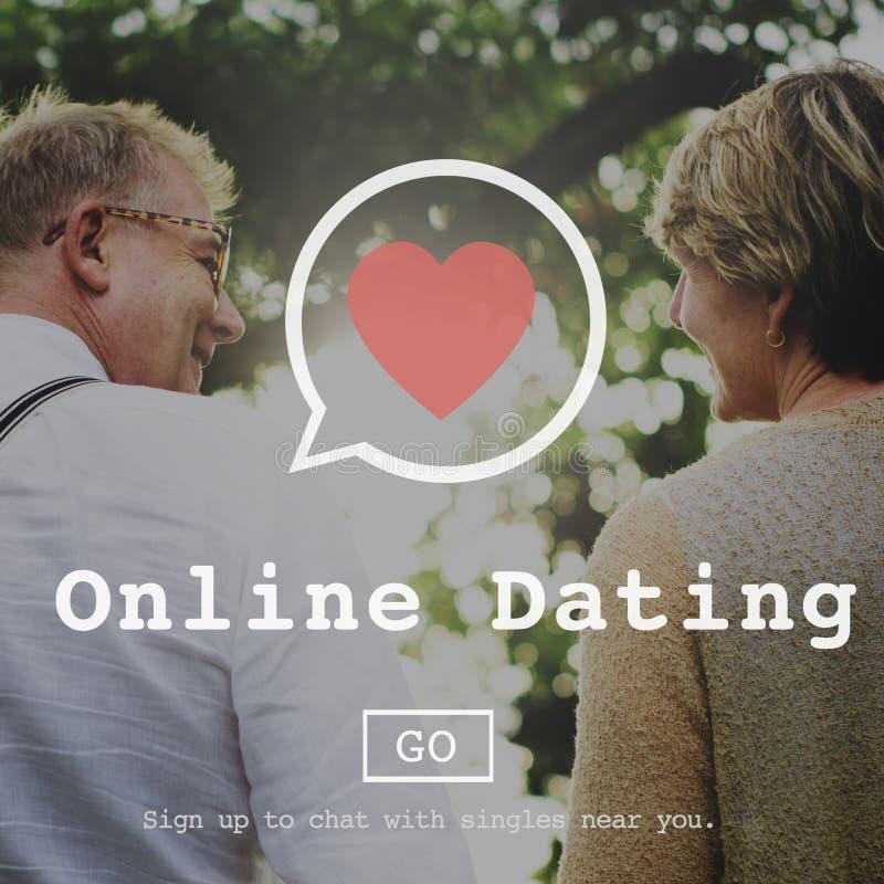Online Daterend het Streven naar het Online Concept van het Overseinen Sociale Netwerk stock foto