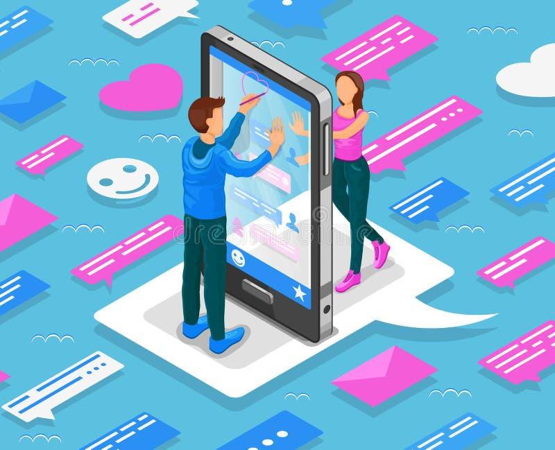 Online daterend isometrisch concept De tieners babbelen door smartphone Vector royalty-vrije illustratie
