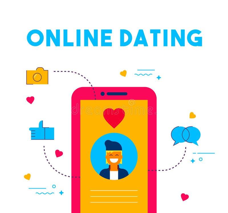 Online daterend sociaal media datumapp conceptontwerp royalty-vrije illustratie