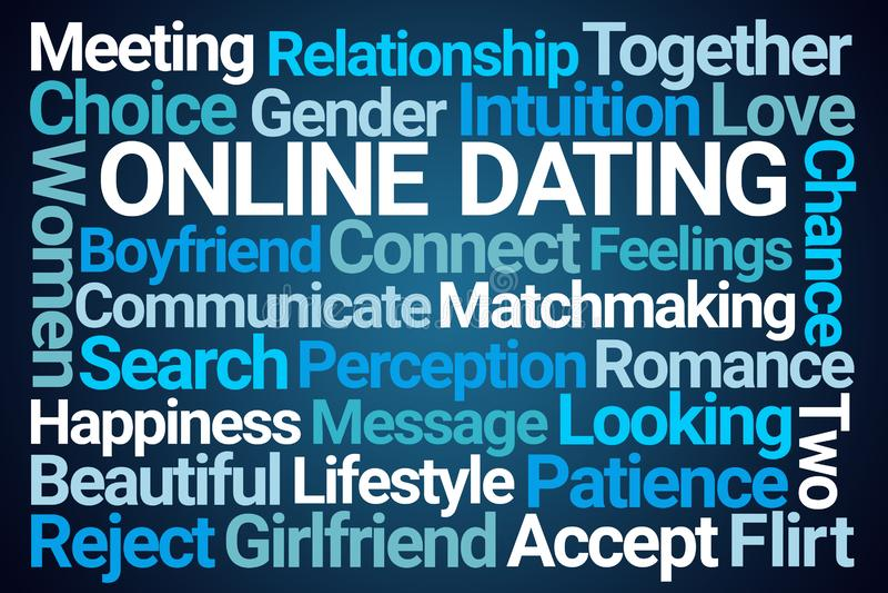 Online Daterende Word Wolk royalty-vrije illustratie