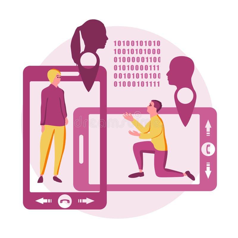 Online dating app concept vector illustration