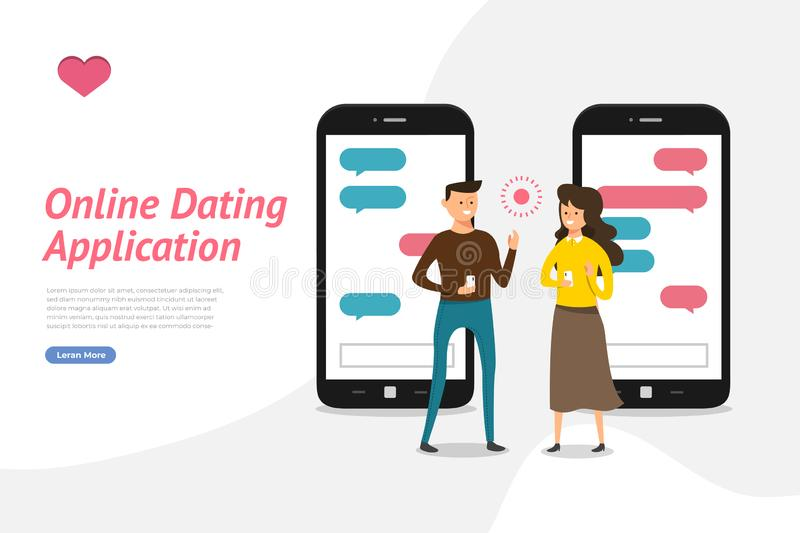 Online Dating Application. Mockup landing page website concpt dating online application via hand hold mobile chat and social activity relationship between man stock illustration