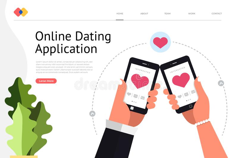 Online Dating Application. Mockup landing page website concpt dating online application via hand hold mobile chat and social activity relationship between man royalty free illustration