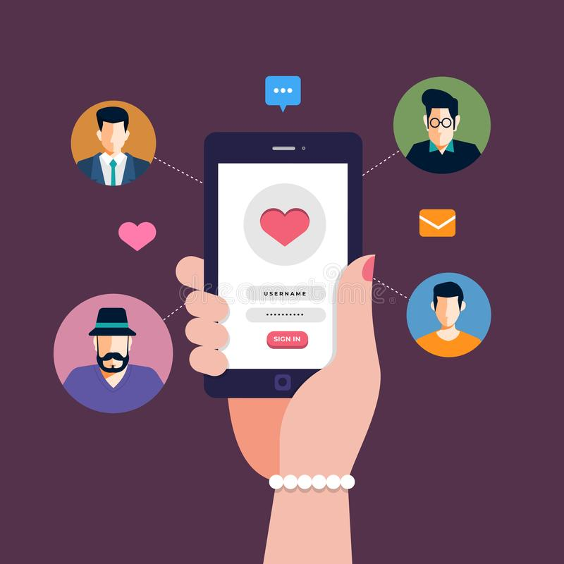 Online Dating Application. Modern illustrations concpt dating online application via hand hold mobile chat and social activity relationship between man and woman royalty free illustration