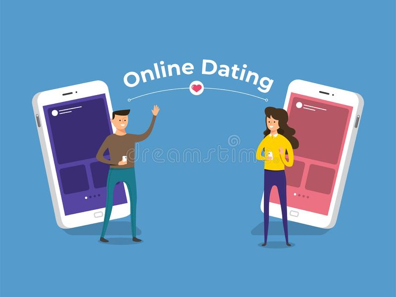 Online Dating Application. Modern illustrations concpt dating online application via hand hold mobile chat and social activity relationship between man and woman stock illustration
