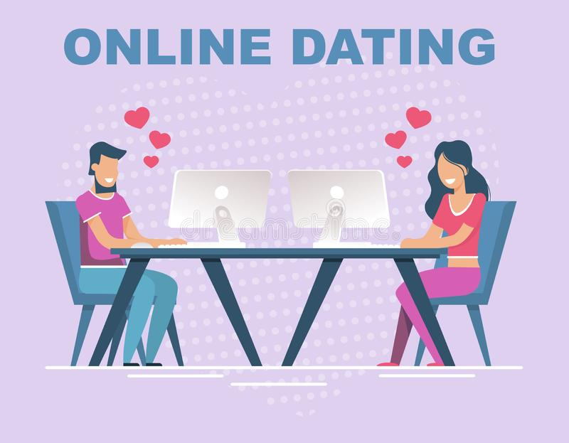 Online Dating Banner with People Having Relation. Online Dating and Conversation Advertising Banner. Flat Cartoon People Characters Having Relation on Internet vector illustration