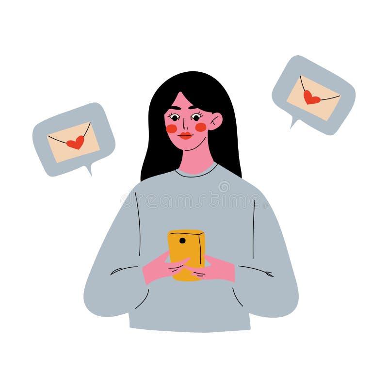 Online Dating, Brunette Girl Using Mobile Application or Website for Dating or Searching for Romantic Partner Vector. Illustration on White Background royalty free illustration