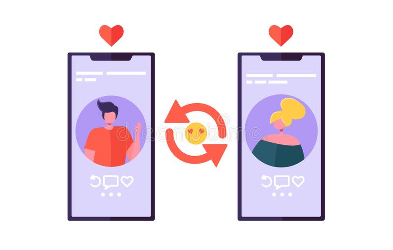 Online Dating Chat App for Romance Connection. Man and Woman Characters Flirting on Smartphone Screen. Communication vector illustration