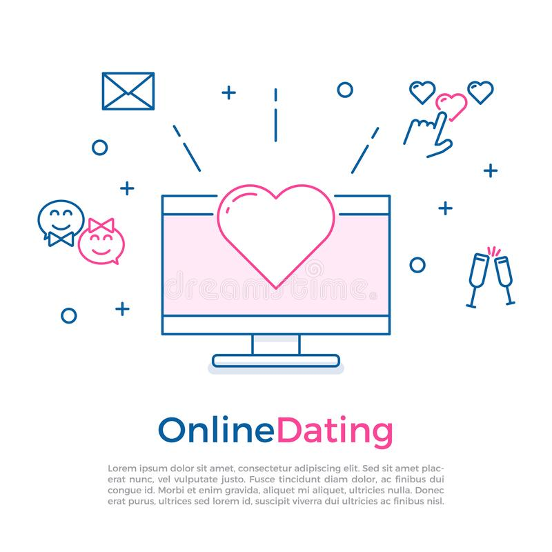 Online dating concept banner with computer, heart and other online and offline romance related icons. Eps10 stock illustration