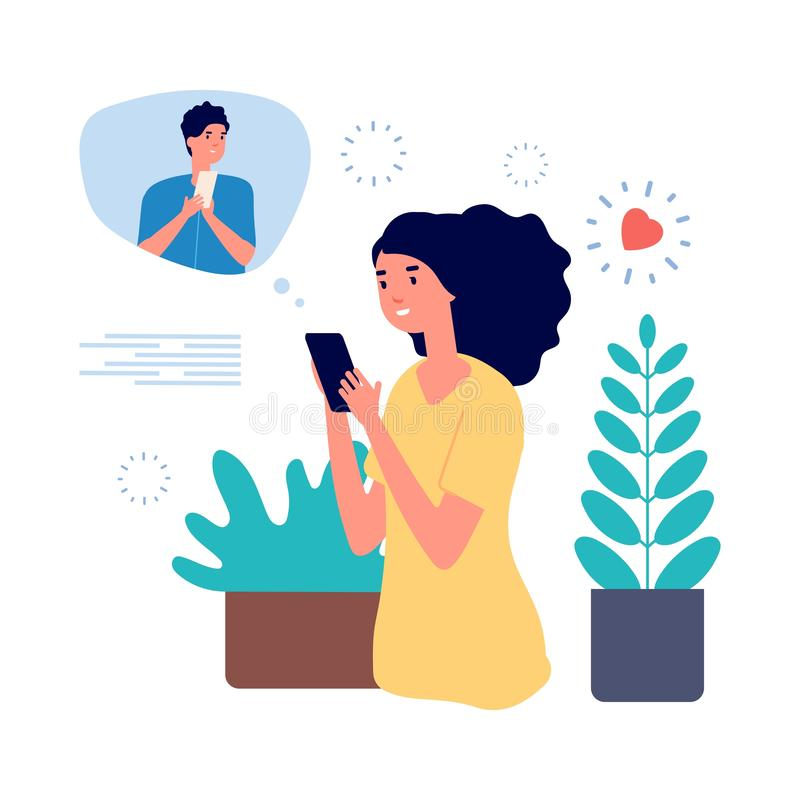 Online dating concept. Pretty girl using romantic app cellphone. Young woman looking boyfriend and messaging with guy. Online dating concept. Pretty girl using vector illustration
