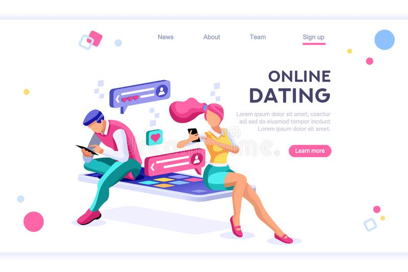 Online Dating Social Teenagers Concept royalty free illustration