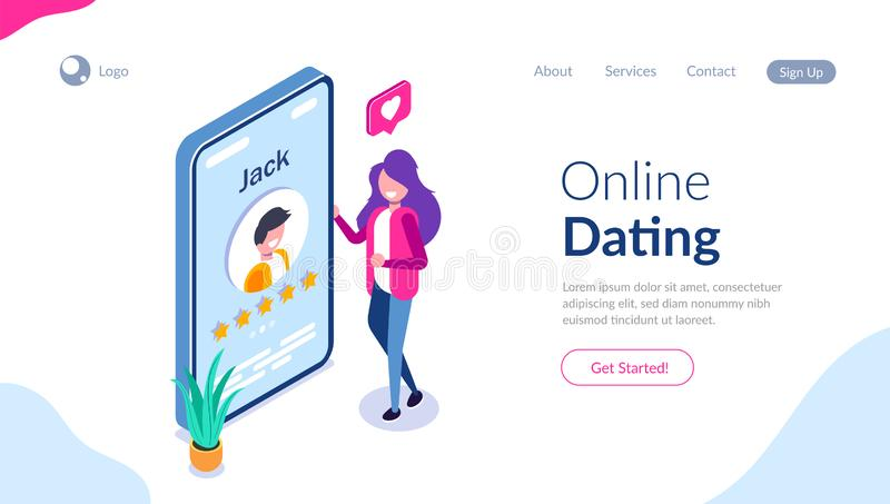 Online dating concept. Young girl evaluates the profile of a guy in a social network or application for dating. Five. Stars. Vector isometric 3d illustration vector illustration
