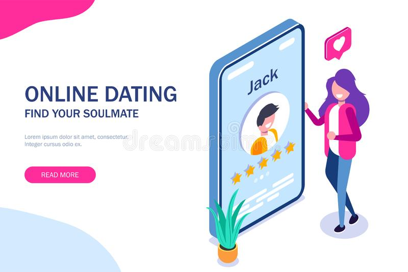 Online dating concept. Young girl evaluates the profile of a guy in a social network or application for dating. Five. Stars. Vector isometric 3d illustration royalty free illustration