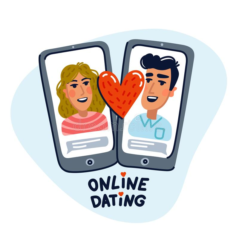 Online dating concept. Young man and woman searching for love with a Mobile phone application. Flat style vector stock illustration
