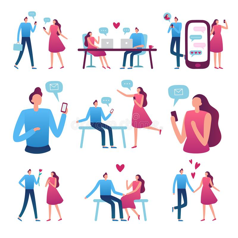 Online dating couple. Man and woman romantic meeting, perfect match internet dating chat and blind date service vector. Online dating couple. Man and woman stock illustration