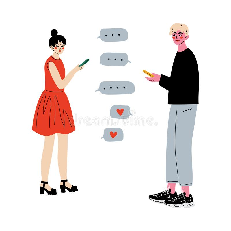 Online Dating, Couple Using Mobile Application for Dating, Young Man and Woman Chatting Online Vector Illustration. On White Background royalty free illustration