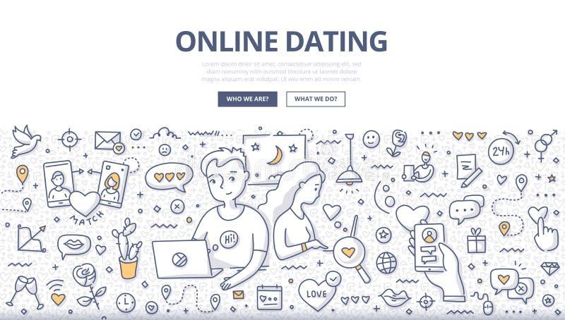 Online Dating Doodle Concept vector illustration
