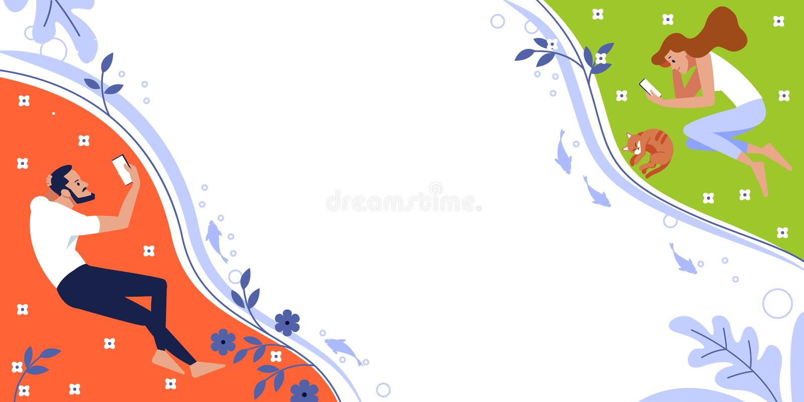Online dating service, virtual communication and searching love in internet. Flat design. Communication via the Internet royalty free illustration