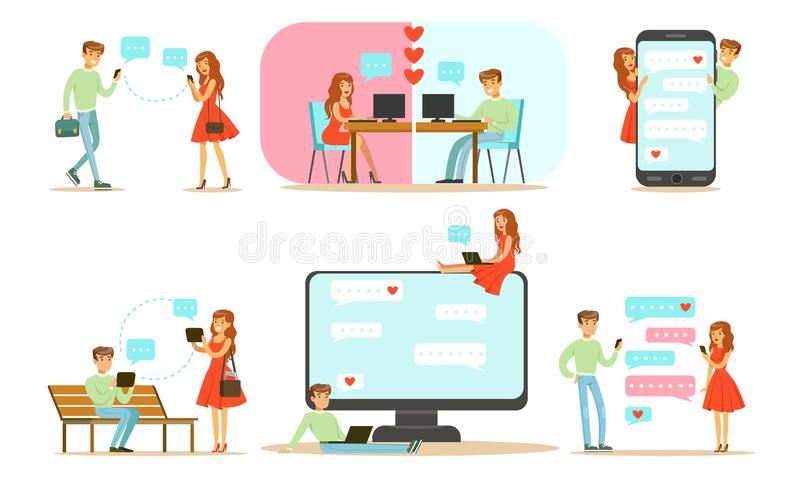 Online Dating Set, Young Man and Woman Chatting Online met hun Gadgets Vector Illustratie royalty-vrije illustratie