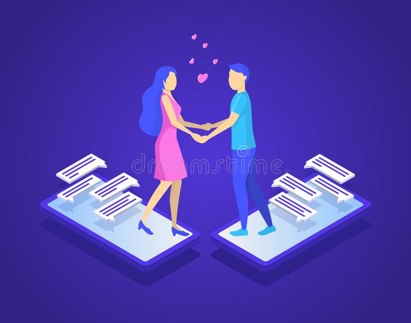 Online Dating and Virtual Communication Concept 3d Isometric View. Vector royalty free illustration
