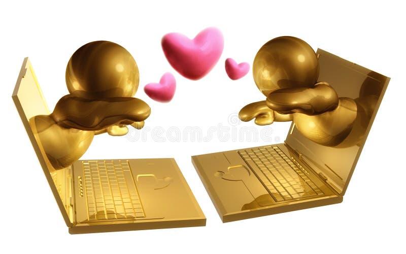 Online dating virtual meeting stock illustration