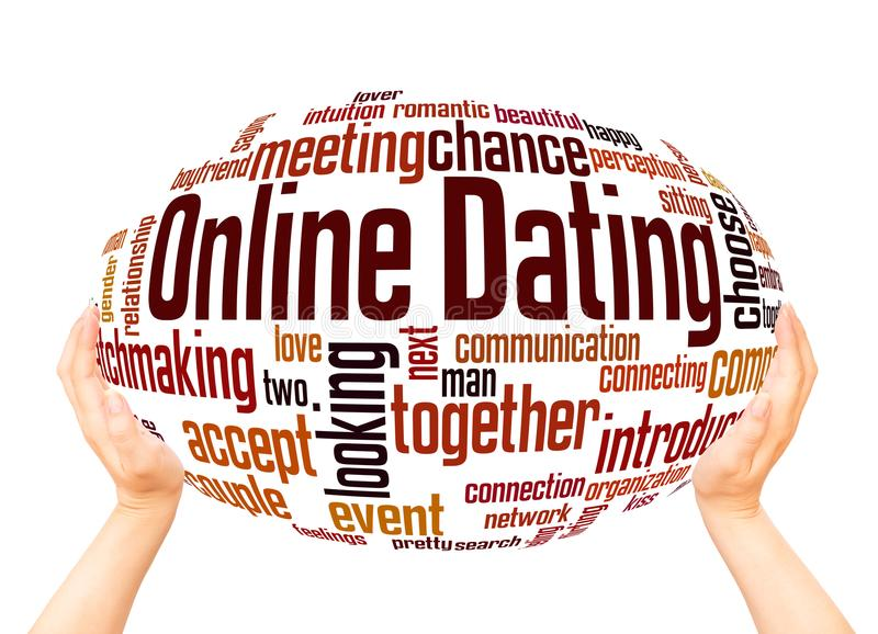 Online dating word cloud sphere concept vector illustration