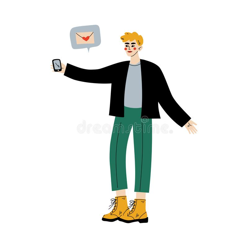 Online Dating, Young Man Using Mobile Application for Dating or Searching for Romantic Partner Vector Illustration. On White Background stock illustration