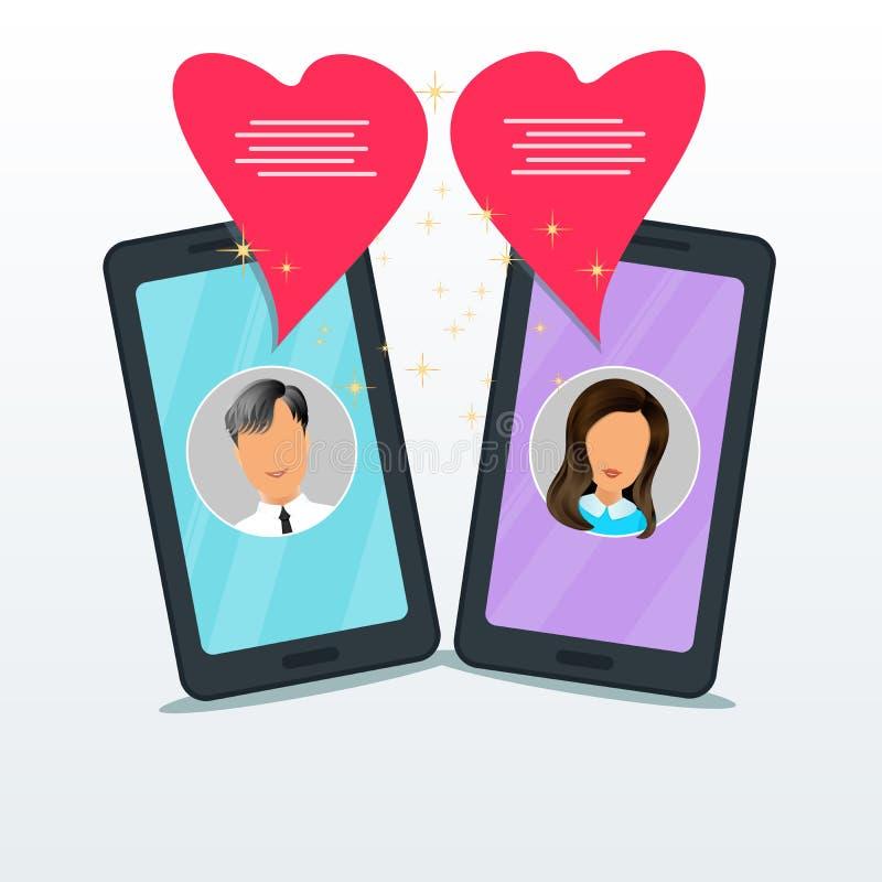 Online datowanie gadka z dwa płaskimi bąbel mowa w formie różowy serce i smartphones Mężczyzny i kobiety przyjaźń, związek royalty ilustracja
