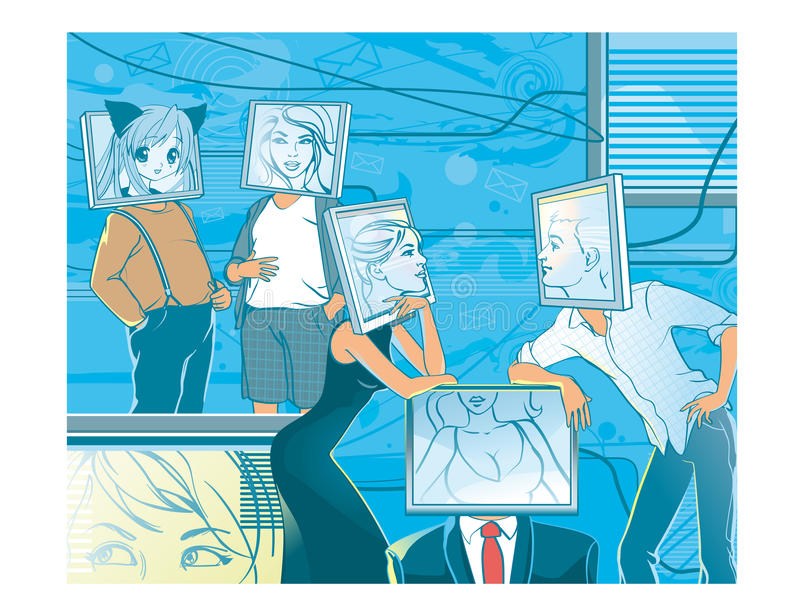 Online datowanie Ludzie z komputerowymi haeds w rzeczywistości wirtualnej ilustracja wektor