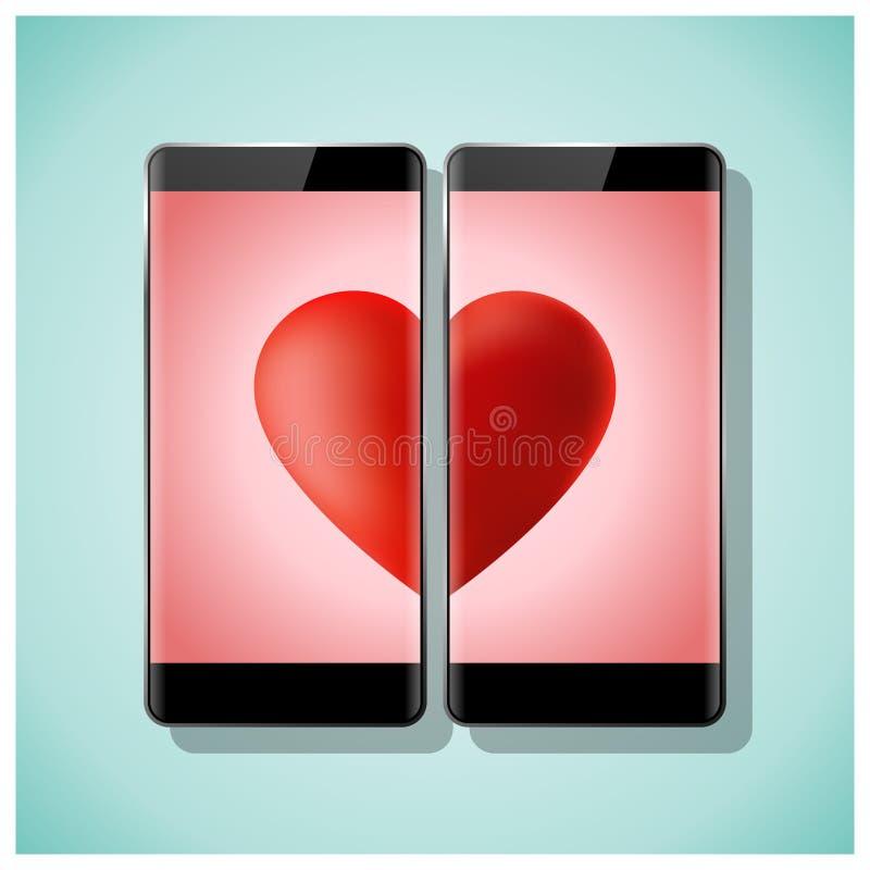 Online datowanie pojęcia miłość dopasowywa czerwonego serce na ekranie żadny granicy z dwa smartphones ilustracja wektor