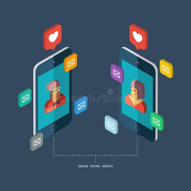 Online datowanie usługa, wirtualna komunikacja i gmeranie miłość w internecie, ilustracji
