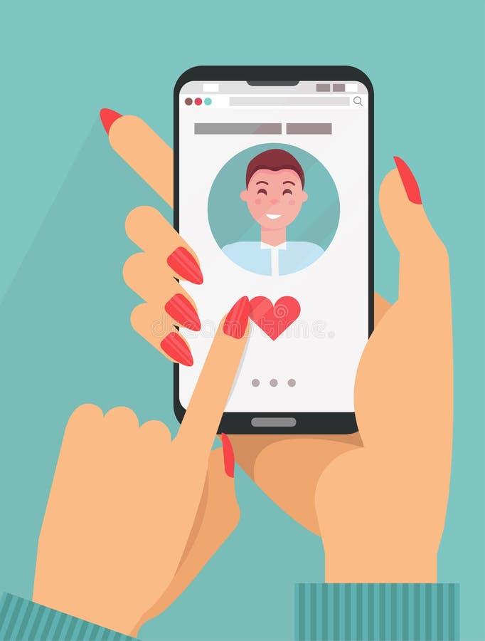 Online datuje app poj?cie kobiet ręki w kostiumu mienia smartphone z ślicznym ciemnego włosy mężczyzną na ekranie Online datowani ilustracja wektor