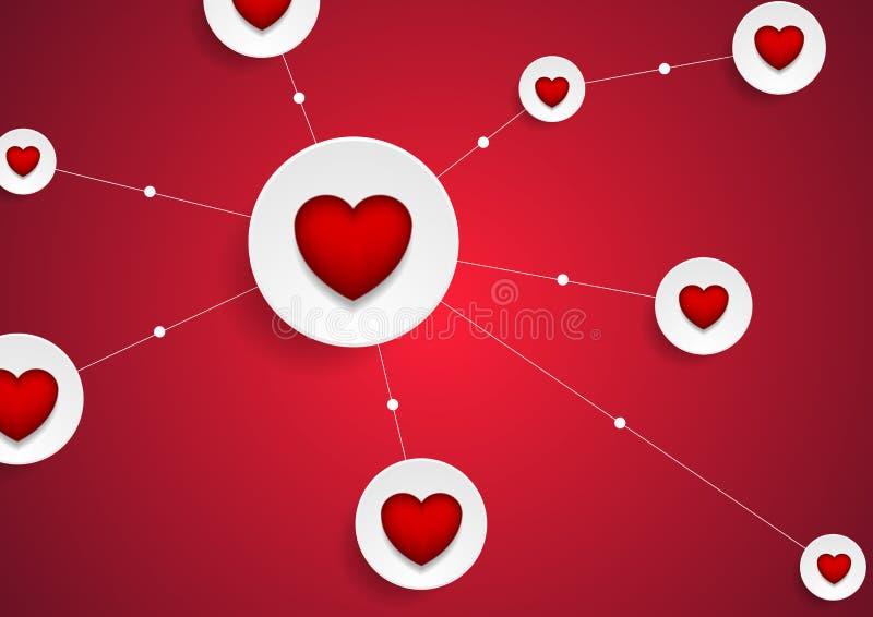 Online-datummärkningkommunikation med hjärtabakgrund vektor illustrationer