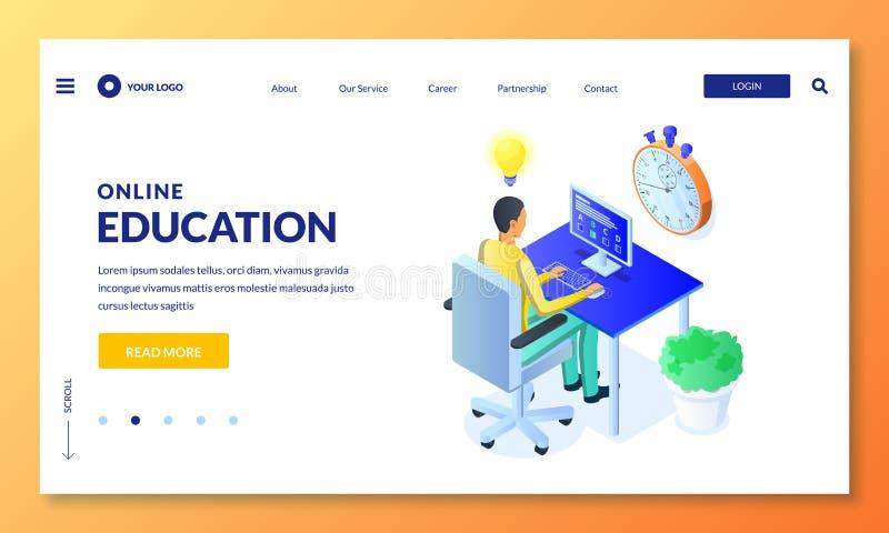 Online de computerquiz van de studentenpas, examen, test Vector isometrische illustratie Online het leren en onderwijsconcept stock illustratie