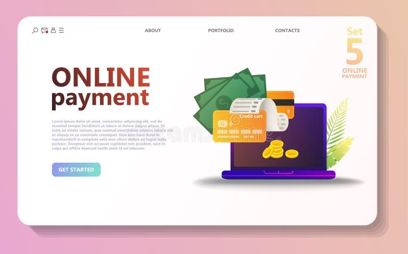 Online de illustratiereeks van het betalingsconcept vector illustratie