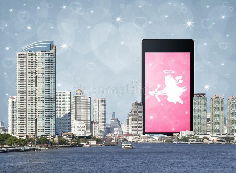 Online de liefdeverbinding van Internet, het concept van de Valentijnskaartendag royalty-vrije stock foto's