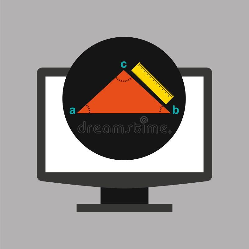 Online de meetkundedriehoek van de onderwijstechnologie royalty-vrije illustratie