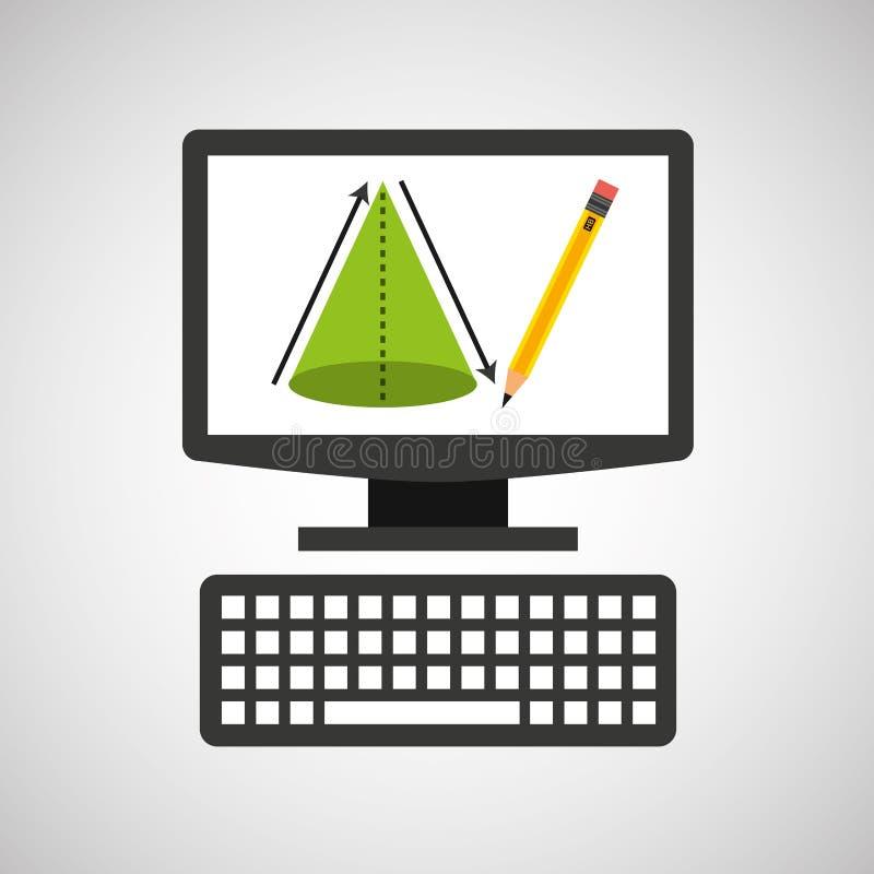 Online de meetkundekegel van de onderwijstechnologie vector illustratie